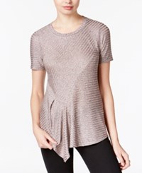 Bar Iii Metallic Asymmetrical Knit Top Only At Macy's Ballet Pink Combo