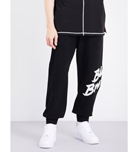 Blood Brother Logo Print Cotton Jersey Jogging Bottoms Black