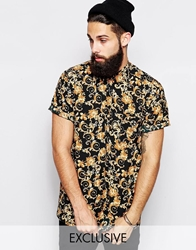 Reclaimed Vintage Shirt With Baroque Print Black