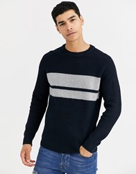 Celio Colour Block Knit Jumper In Navy
