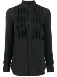 Saint Laurent Front Pleats Blouse Black