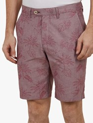 Ted Baker Mauish Leaf And Palm Print Shorts Mid Pink
