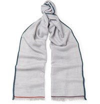 Loro Piana Contrast Trimmed Cashmere Silk And Hemp Blend Scarf Gray