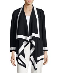 St. John Double Knit Drape Front Cardigan Black White
