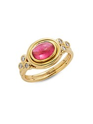 Temple St. Clair Pink Tourmaline Diamond And 18K Yellow Gold Horizontal Ring