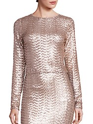 Alice Olivia Lebell Sequin Cropped Top Nude Pink