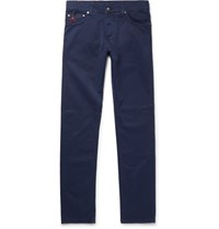 Isaia Slim Fit Stretch Cotton Twill Trousers Navy