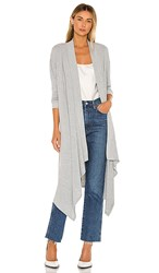 1.State 1. State Drap Front Maxi Cardigan In Gray. Silver Heather