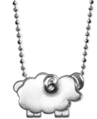 Alex Woo Little Sheep Zodiac Pendant Necklace In Sterling Silver