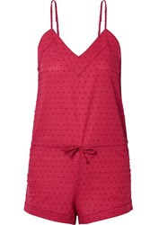 Three J Nyc Rosie Swiss Dot Cotton Playsuit Brick