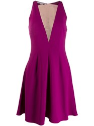 Stella Mccartney Sheer Panel Flared Dress Purple