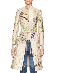 Alexander Mcqueen Floral Embroidered Leather Zip Jacket Multi