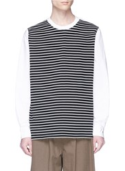3.1 Phillip Lim Stripe Jersey Panel Poplin Sweatshirt Multi Colour