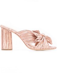 Loeffler Randall Penny Bow Embellished Mules Pink