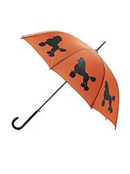 The San Francisco Umbrella Company Walking Poodle Print Auto Open Rust