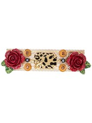 Dolce And Gabbana Rose Leopard Hair Clip Gold