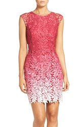 Adelyn Rae Women's Ombre Lace Sheath Dress Red Raspberry