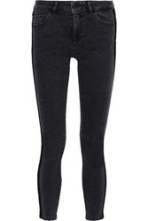Dl1961 Woman Margaux Cropped Velvet Trimmed Mid Rise Skinny Jeans Charcoal