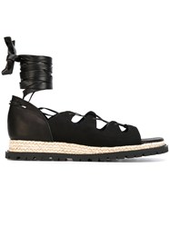 Sacai Lace Up Gladiator Sandlas Women Calf Leather Leather Foam Rubber 36 Black