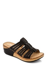 Godiva Cutout Woven Wedge Sandal Black