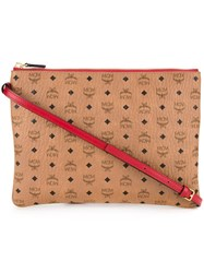 Mcm Detachable Strap Clutch Brown