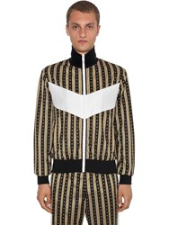 Versace Greca Printed Zip Up Jersey Jacket Black Gold