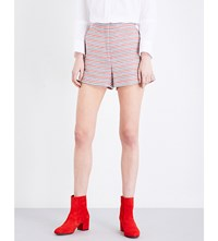 Sandro Colom High Rise Cotton Blend Shorts Red