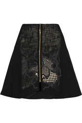Roland Mouret Ockwells Open Weave Cotton Blend Mini Skirt