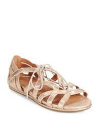 Gentle Souls Oona Lace Up Leather Sandals Rose Gold