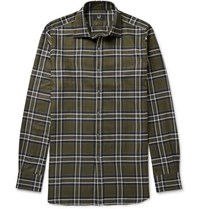 Dunhill Slim Fit Checked Cotton Twill Shirt Army Green