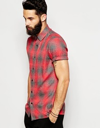 Asos Shirt In Short Sleeve With Shadow Check Red