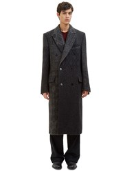 Ermenegildo Zegna Long Double Breasted Jacquard Coat Grey