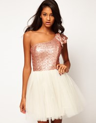 Asos Prom Dress With Sequin One Shoulder Cream