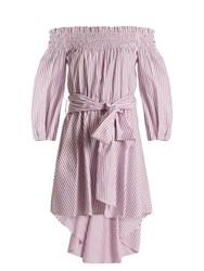 Caroline Constas Lou Off The Shoulder Striped Cotton Dress Pink Stripe
