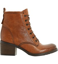 Dune Patsie Lined Leather Ankle Boots Tan Leather