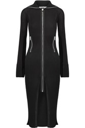 Givenchy Satin Trimmed Ribbed Stretch Knit Cardigan Black