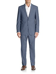 Michael Kors Regular Fit Sharkskin Wool Suit Blue