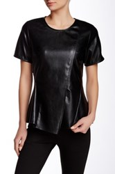 Gracia Faux Leather Short Sleeve Asymmetrical Top Black