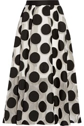 Lela Rose Polka Dot Chiffon Skirt White