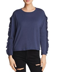 Michelle By Comune Ruffled Long Sleeve Tee Navy