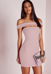 Missguided Cut Out Panel Bardot Bodycon Dress Lilac Mauve