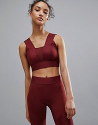 Ivy Park Active Logo Taped Bra In Burgundy Russet Red