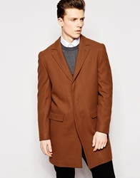Dkny Premium Wool Rich Leather Trim Overcoat Brown
