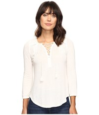 Lucky Brand Lace Front Peasant Marshmallow Women's Clothing Blue