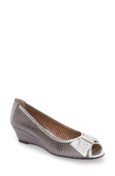 J. Renee Women's J.Renee Dovehouse' Perforated Peep Toe Wedge Pewter Silver Leather