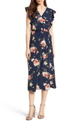 Soprano Wrap Midi Dress Navy Floral