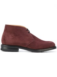 Church's Ryder Boots Men Leather Calf Suede Rubber 6 Red