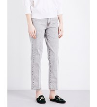 Maje Perla Straight High Rise Jeans Gris