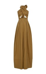 Rosie Assoulin Artichoke Hearts Cotton Jumpsuit Brown