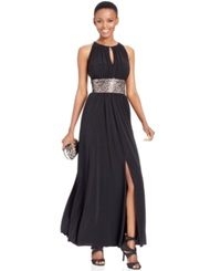 R And M Richards Beaded Waist Halter Evening Gown Black Gold